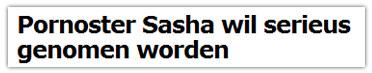 Pornoster Sasha wil serieus genomen worden
